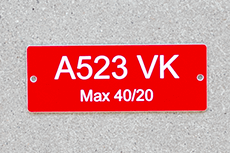 Engraved Plastic Sign in Red